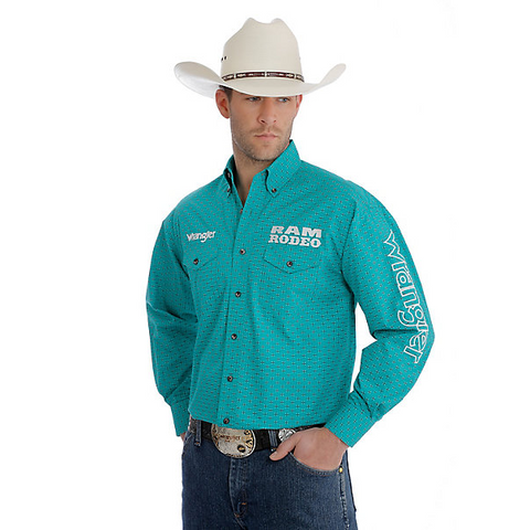 Men's Wrangler Ram Button-Up Teal Green  L/S Shirt