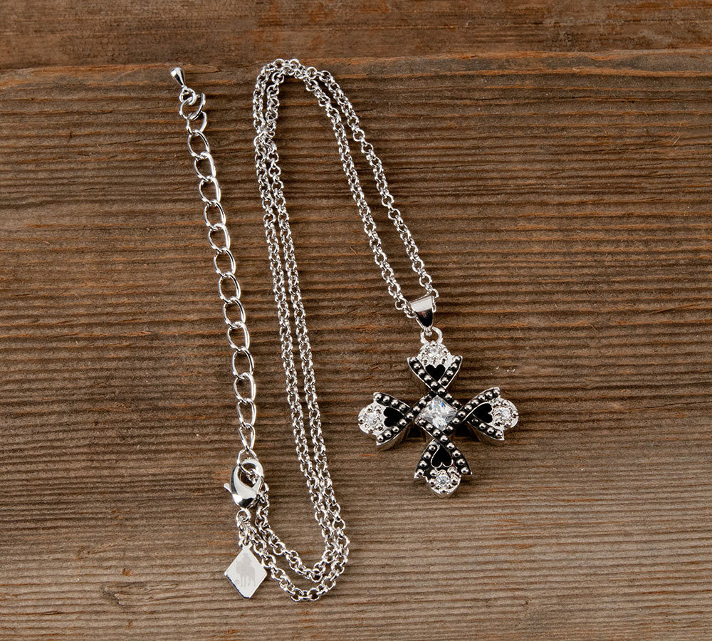 Montana Silversmith Cross Necklace - Antiqued Crystal Braided