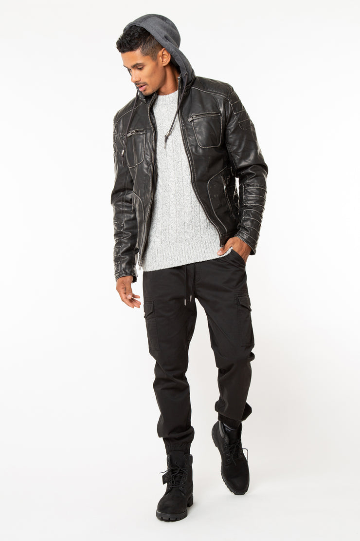 Synthetic Lined Washed Out Pu Jacket With Removable Fleece Hood