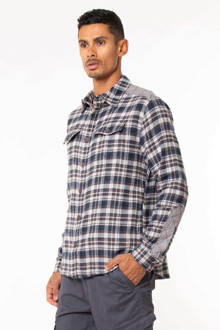 Button Down Flannel Shirt Jacket With Woven Quilting And Side Pockets