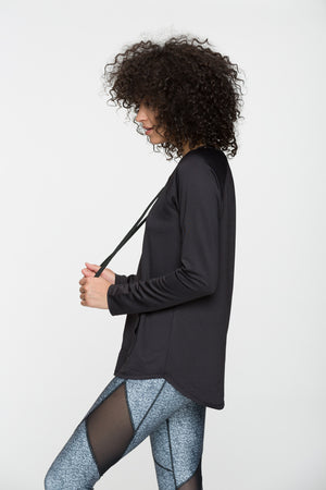 Technique Lace-Up Long Sleeve Top