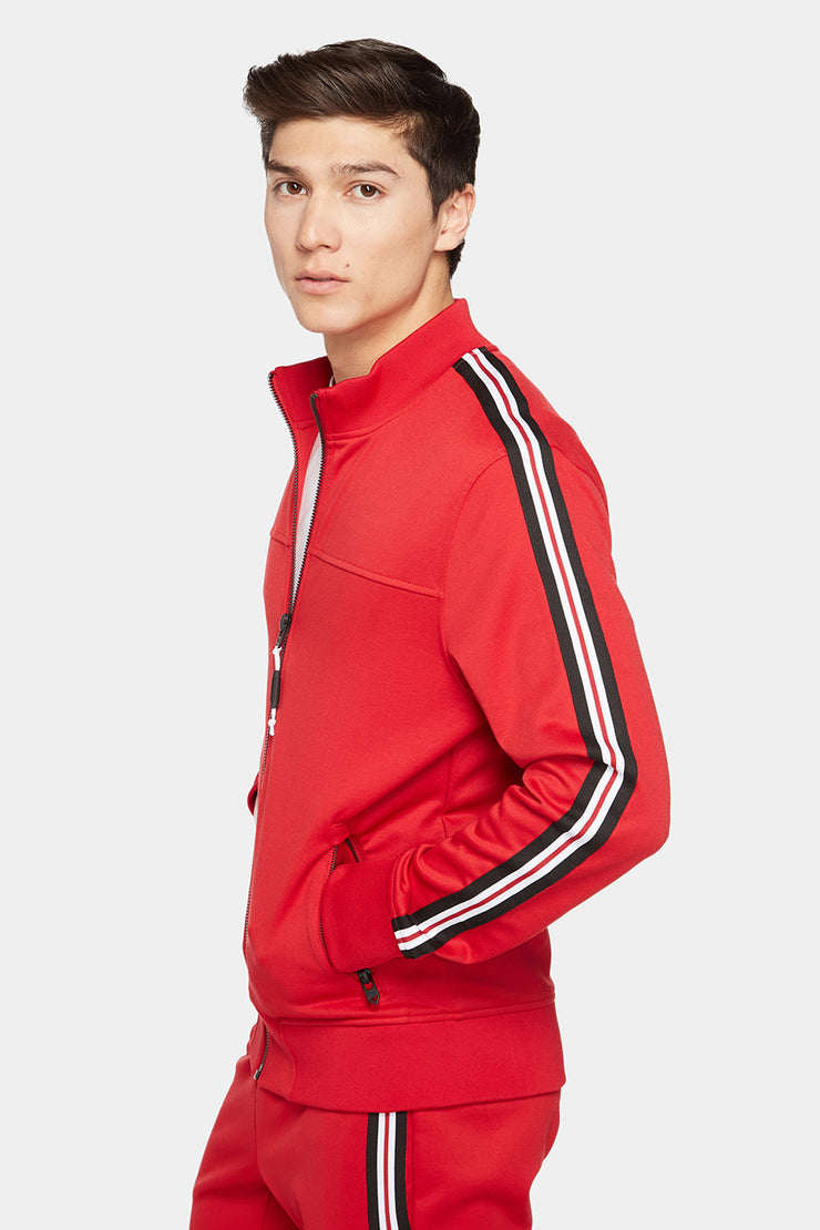 Double Knit Zip Up Track Jacket with Mock Collar