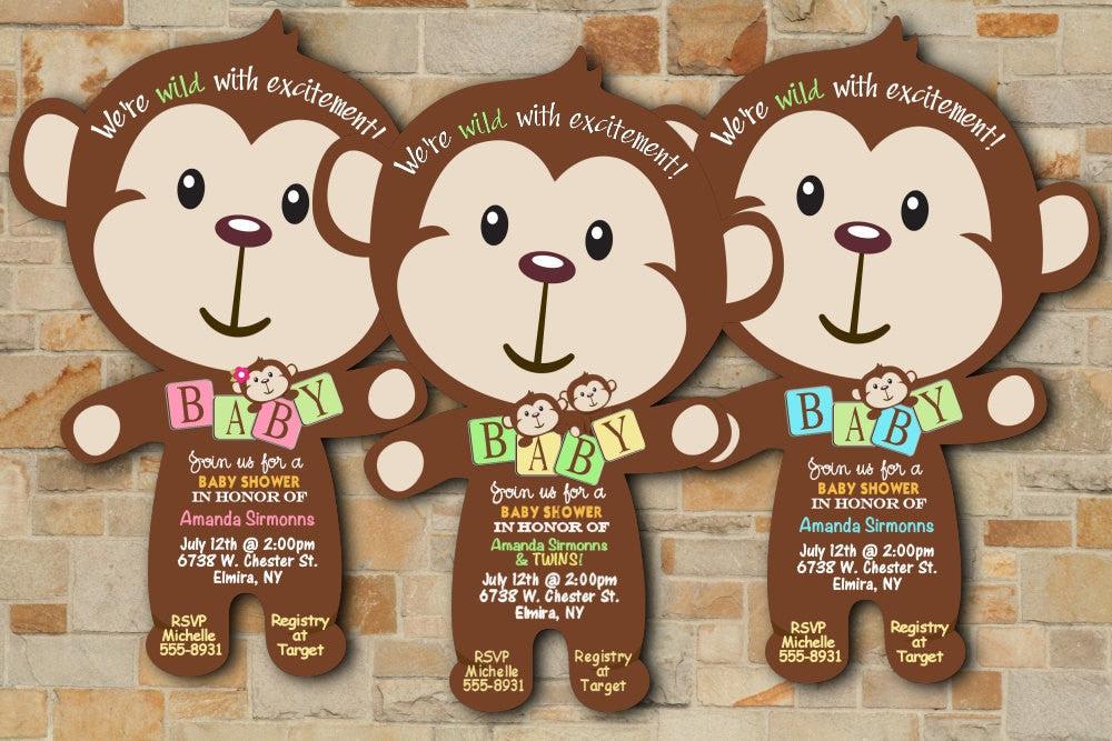 Monkey baby block jungle baby shower invitations die cut monkey baby block jungle baby shower invitations die cut filmwisefo