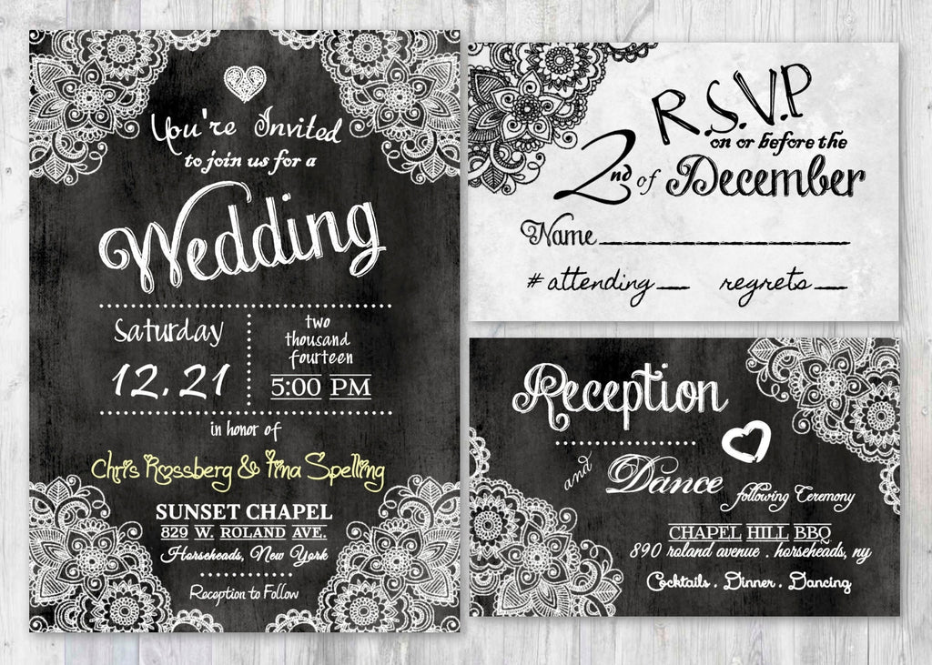 chalkboard theme chalk wedding invitation suite vipinvitationstudio