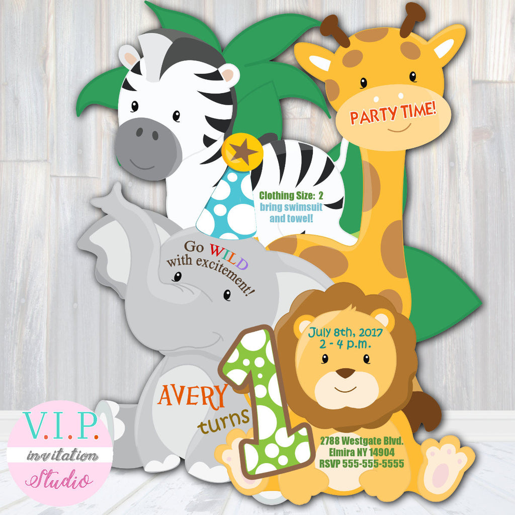 First Birthday or Baby Shower Jungle Safari Invitations - Die Cut ...