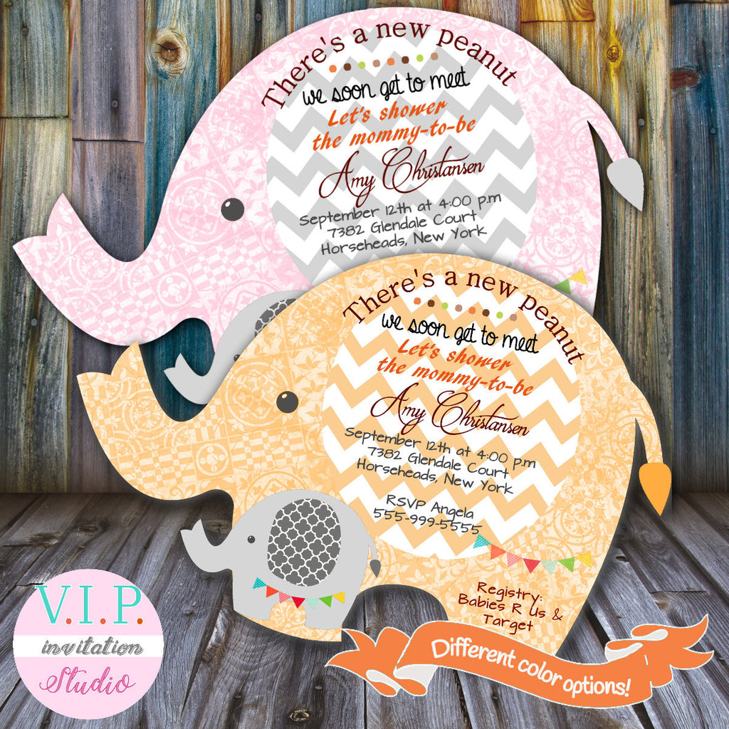 flowers elephant pink baby shower floral vintage invitations with invitation untitled