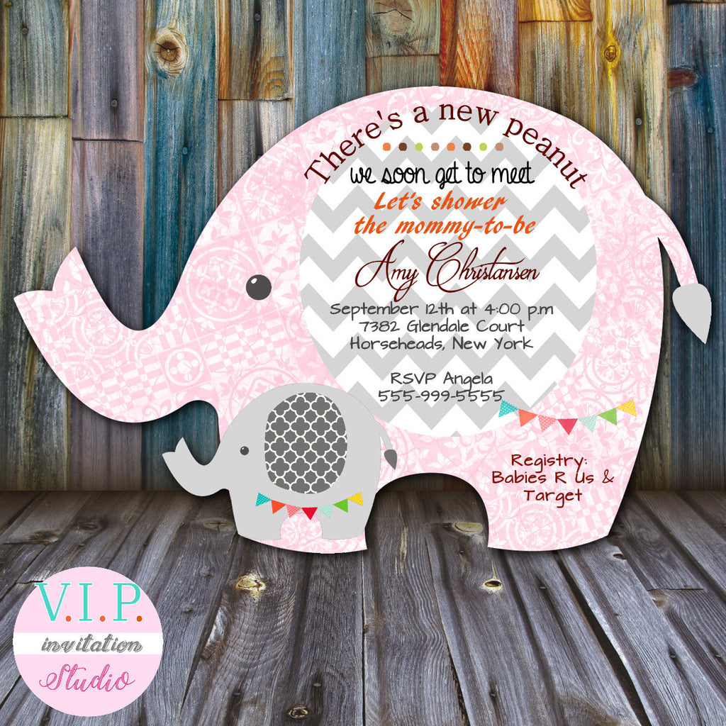 Lil Peanut Elephant Baby Shower Invitations Gender Neutral Boy or ...