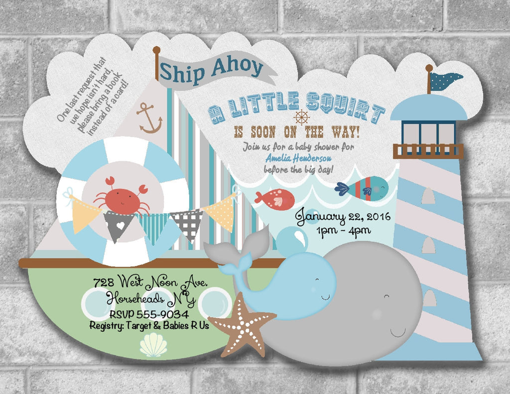 Ship Ahoy Whale Sailboat Baby Shower Invitations - Die Cut ...