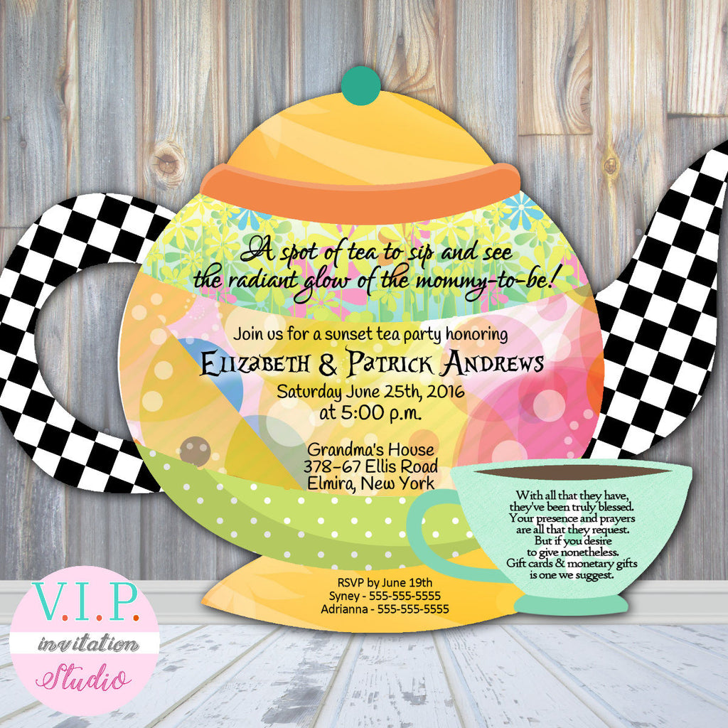 Tea party luncheon baby shower invitations or bridal shower teapot tea party luncheon baby shower invitations or bridal shower teapot die cut filmwisefo