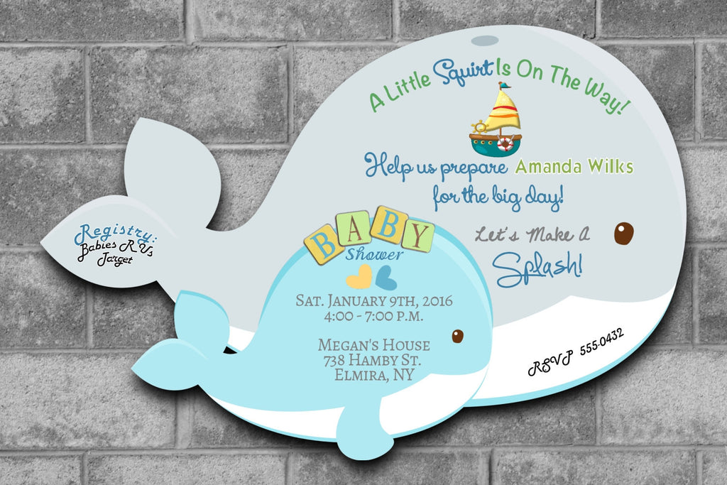 Whale Nautical Themed Baby Shower Invitations - Die Cut ...