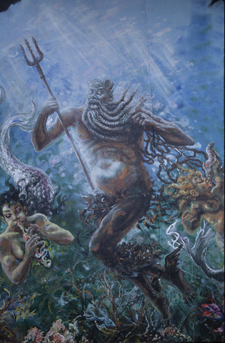 Floyd Sapp Neptune painting for Brooklyn Lyceum
