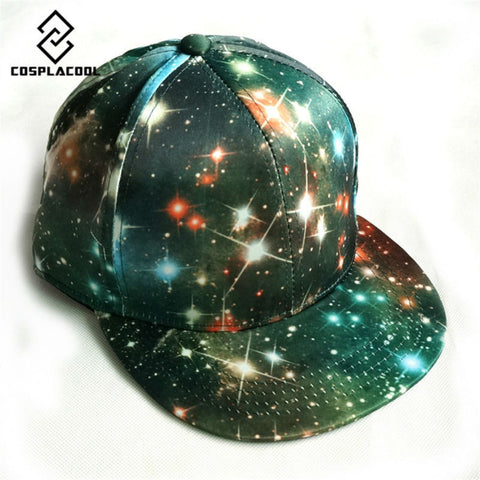 Unisex Galaxy Baseball Space Pattern Print Snapback Hip Hop Peak Hats
