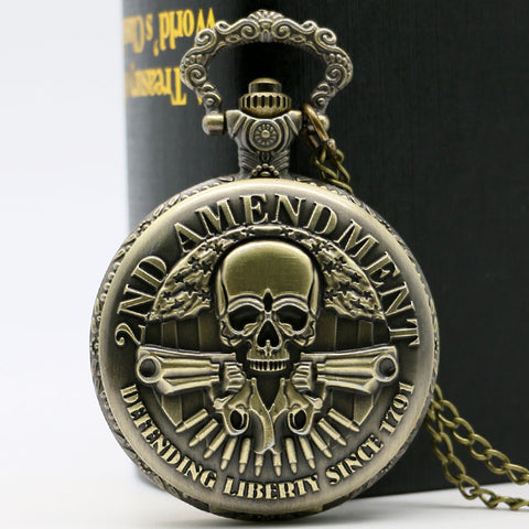 2nd Amendment USA Bronze Quartz Pocket Watch With Chain