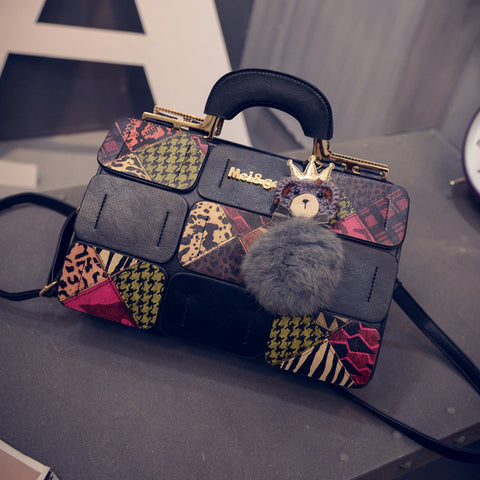 Fashion Crossbody Bag Plaid Geometric Patchwork Tote For Women Shoulder Bag