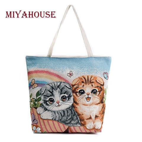 Cute Cats Printed Canvas Large Shoulder, Shopping Tote Bag