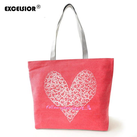 Floral Hearts Printed Tote  Beach Shopping Bag Canvas Handbags