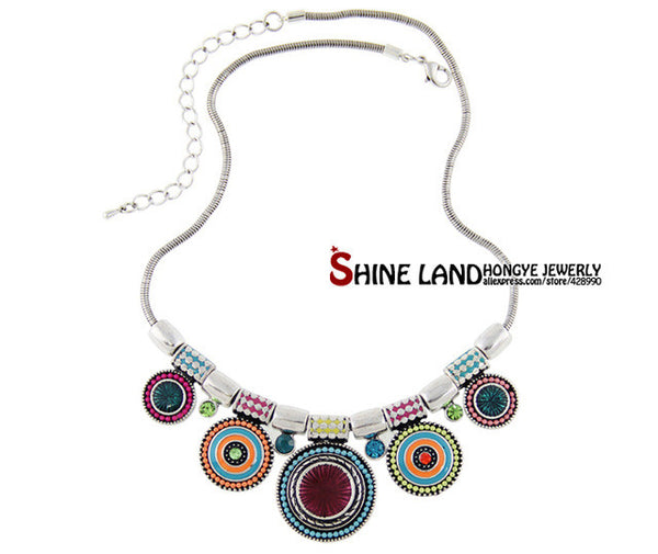 Choker Ethnic  Vintage Silver Plated Bead Pendant Statement Necklace