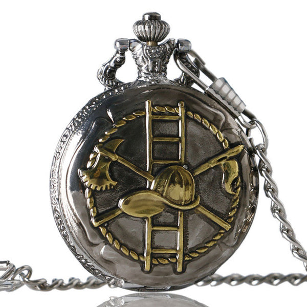 Bronze/Silver Firefighter Hat Quartz Pocket Watch with Key Chain