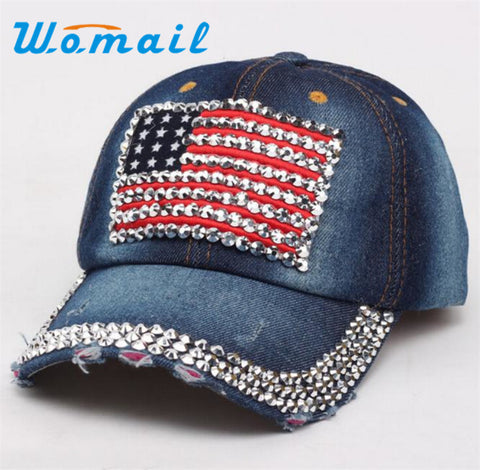 Women Diamond Baseball Cap Summer Style Jeans Flat Snapback
