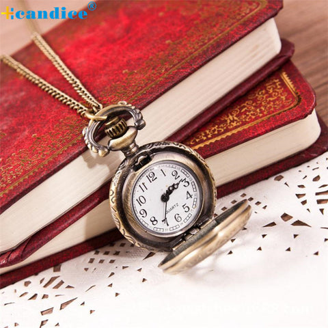 2016 Hot Sale Retro Pocket Watch Chain Necklace Vintage Fashion Bronze Quartz Pendant