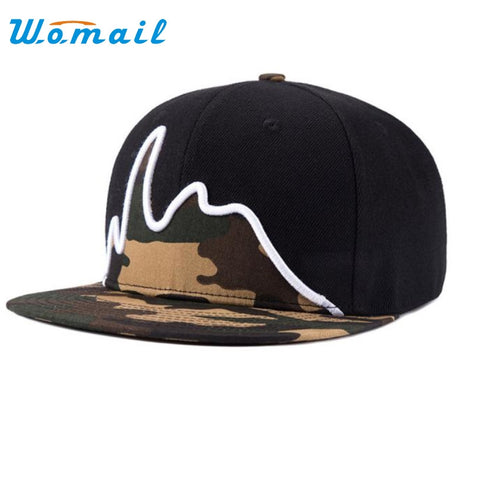 Unisex camouflage snapback adjustable hip hop baseball Black Flat hat
