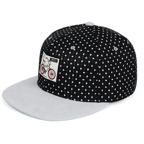 Unisex Black Baseball Snapback hip hop Cotton Flat Cap