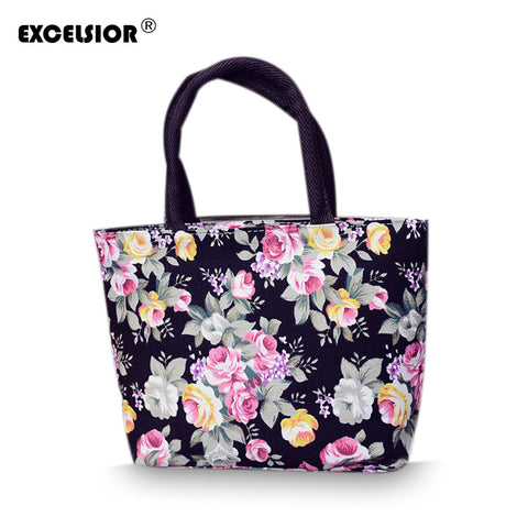 Flower Printed Tote Canvas Handbag Portable Beach Shopping Bag