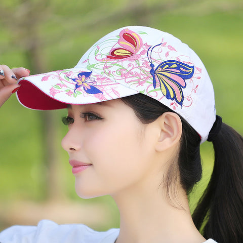 Butterfly flower embroidery 100% cotton baseball hip hop cap