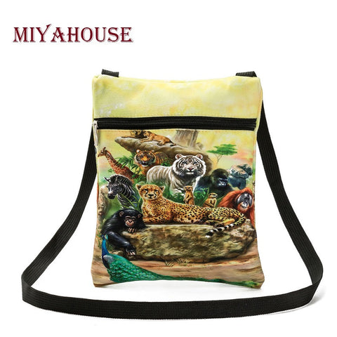 Casual Canvas Small Bag Animals Printed Messenger Bag, Mini Flap Shoulder Bag