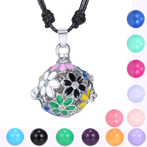 12 Colors for Angel Ball Mexican  Enamel Flower Crystal Pendant Necklace