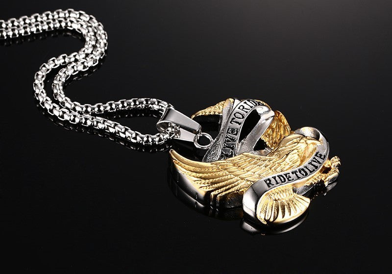Eagle Necklace Pendant Stainless Steel Metal LIVE TO RIDE Punk Jewelry