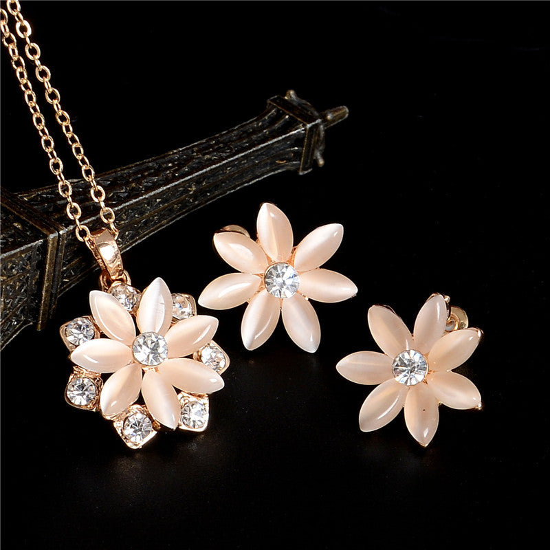 Gold Plated Austrian Crystal Stud Earrings For Women Flower Pendant Necklace Set