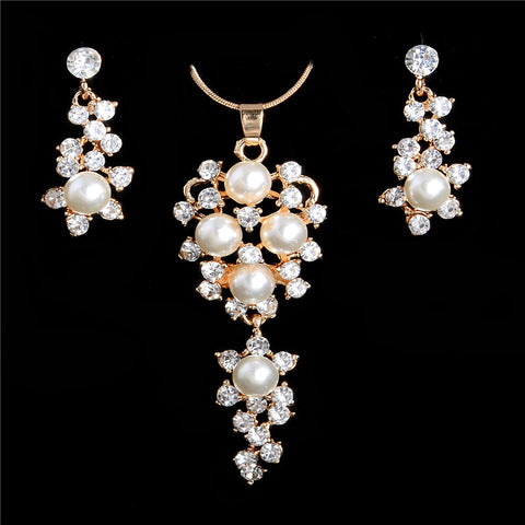 18K Gold  Plated Chain Flower Imitation Pearl Crystal Necklace And Earrings