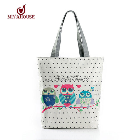 Cartoon Owl Print Casual Canvas Beach Handbag Large Capacity