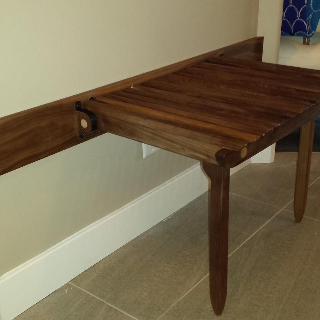 Folding Wall-mounted Bench in Walnut