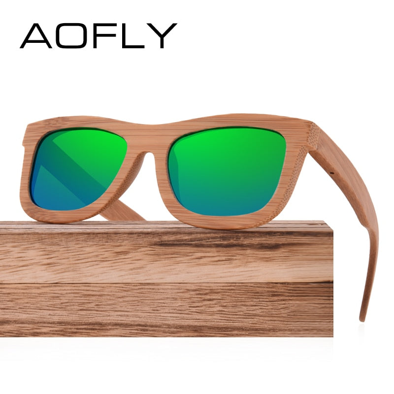 e31ab61123 ... AOFLY BRAND DESIGN New Polarized Bamboo Sunglasses Men Wooden Glasses  Women Handmade Wood Mirror Coating Oculos ...