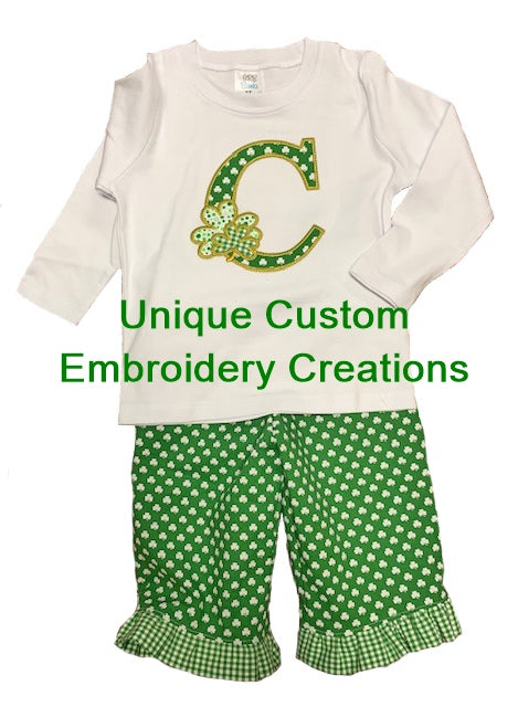 Embroidered toddler girl outfit.