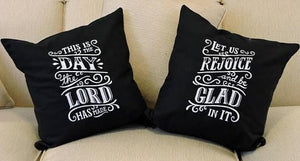 "Embroidered Throw Pillow Set - ""This is The Day The Lord Has Made"""