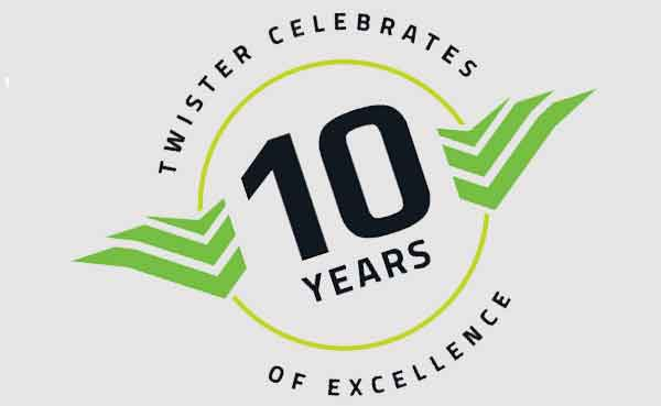 Twister now offers a FULL 10 Year Warranty