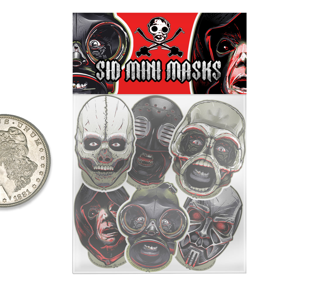 SID MINI MASKS: TheDefinitive SID Mask History Series: Mini Sticker Complete Original Run: Issue #0, #1, #2, #3, #4 & #5 : 6 Pack. 1999, 2001, 2004, 2008, 2014 & 2019.