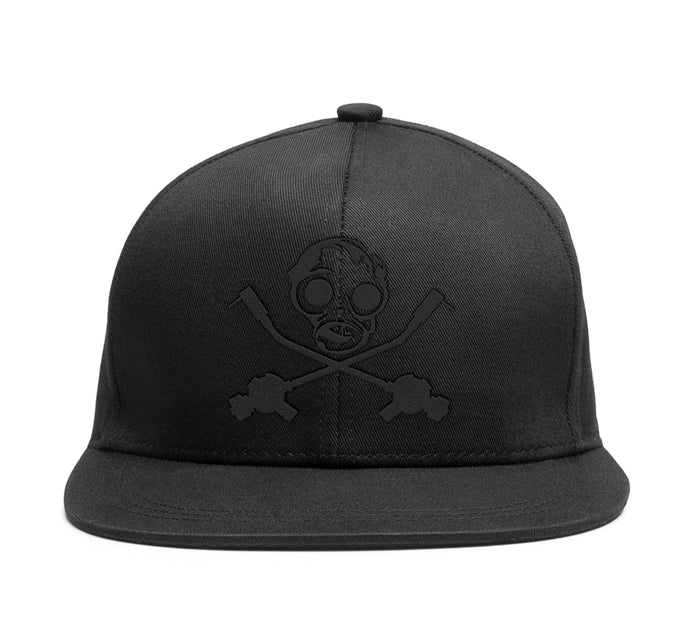 TRIPLE MURDERED OUT Gasmask Snapback (BLACK ON BLACK)