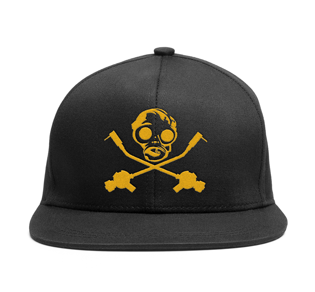 Gasmask Snapback: Murdered Out Black and Gold Edition