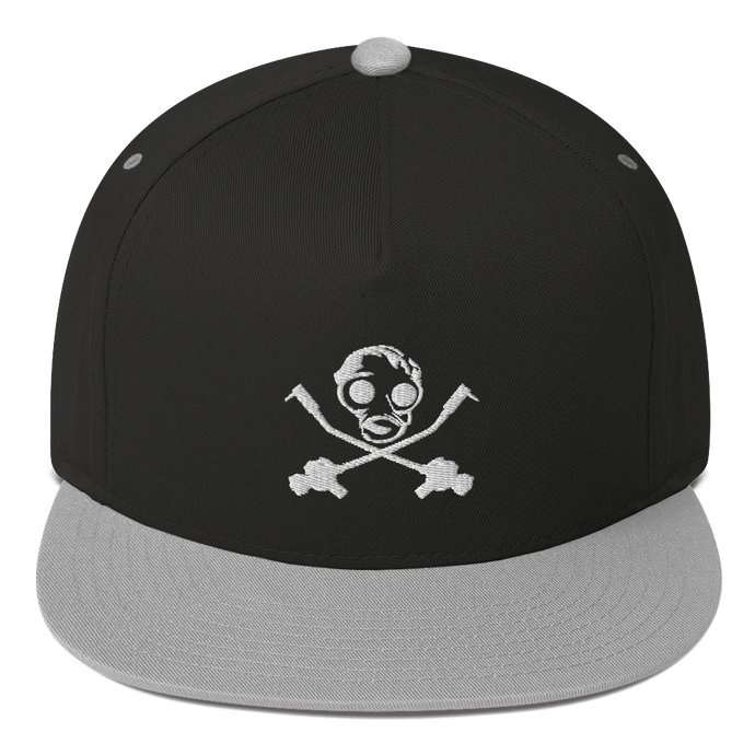 White Gas Mask Flat Bill Cap