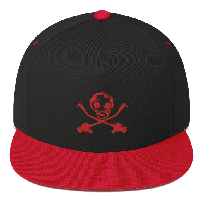 Red Gas Mask Flat Bill Cap