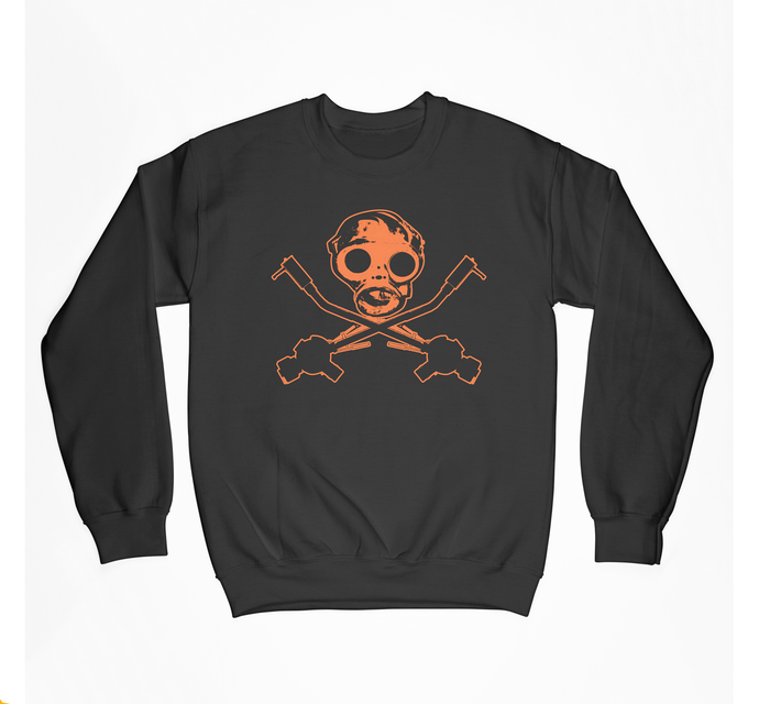 Hyper Orange Gas Mask Crewneck Fleece