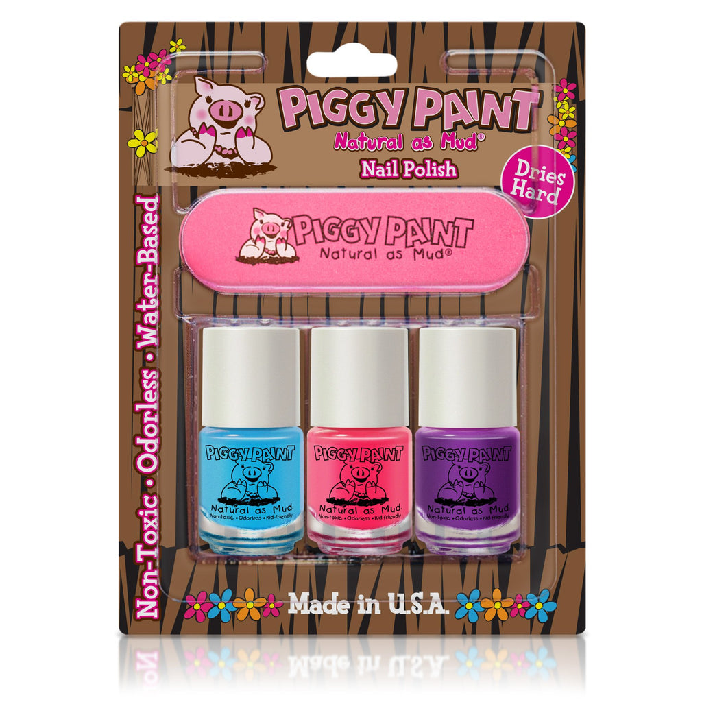Piggy Paint Nail Polish 3 Pack & file - Super Toy