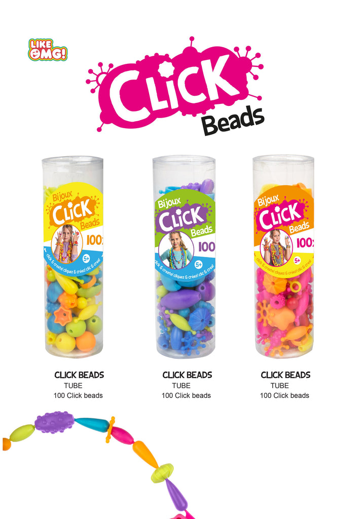 Click Beads - Pink, Orange & Yellow - Super Toy