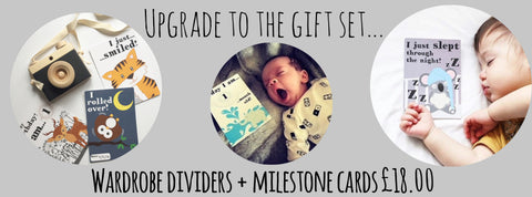 baby wardrobe dividers and milestone cards gift set