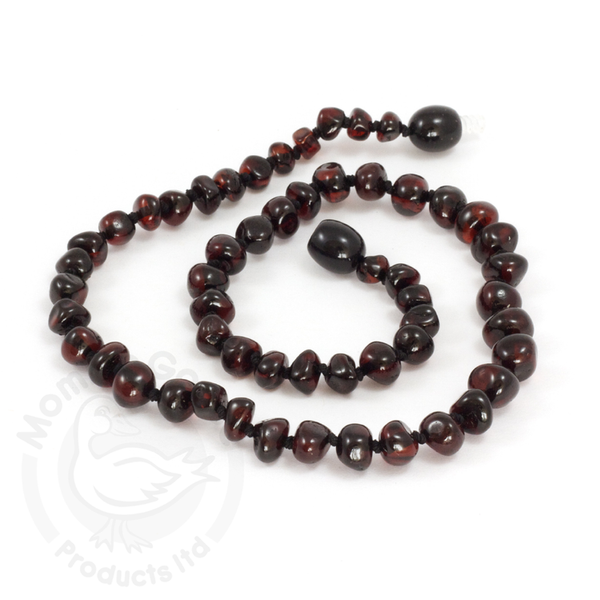 Baltic Amber Baroque Dark Cherry Teething Necklace