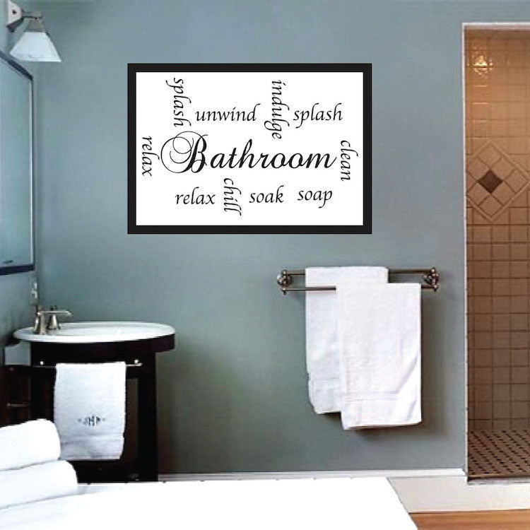 Bathroom Sayings Wall Decal Chill Soak Unwind Relax Quote Bath Room Sticker  Toilet Loo Art, c84